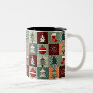 Nostalgic Vintage Holiday Patchwork Quilt Two-Tone Coffee Mug