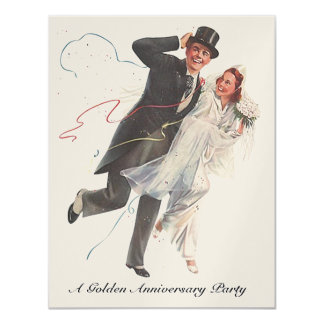 Nostalgic Wedding Day Couple Anniversary Invites