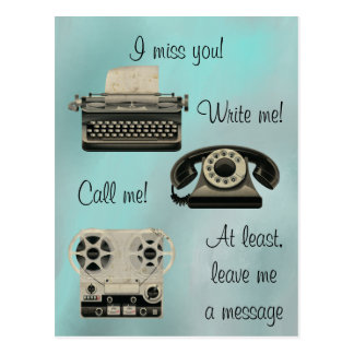 Nostalgic Write me Call Me Postcard