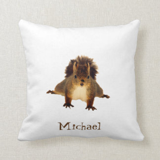 Nosy red squirrel in snow add a name throw pillow