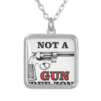not a gun free zone tag silver plated necklace
