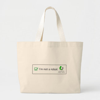 not a robot large tote bag