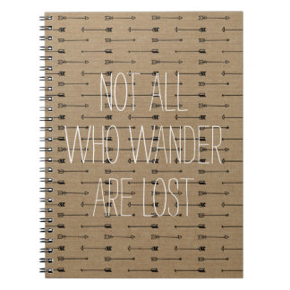 Not all who wander are lost inspo travel quote notebooks