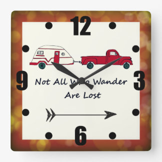 Not All Who Wander Are Lost Quote Trailer Caravan Wallclocks