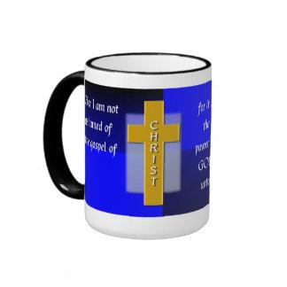 Not Ashamed Christian Bible Verse Men's Coffee Ringer Mug