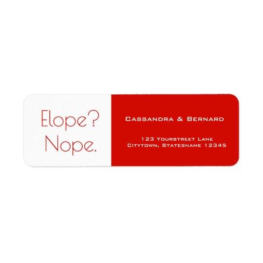 Not Eloping Wedding   Return Address Label