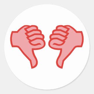 not emergency OK thumb down thumbs down Classic Round Sticker