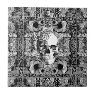 Not here, ornate skull and poppies pattern tile