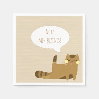"""""""Not my business"""" Cat Paper Napkin"""