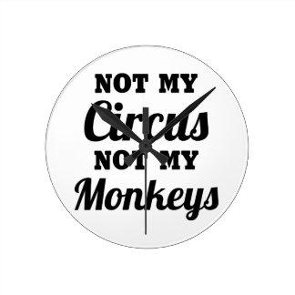 Not My Circus Round Clock