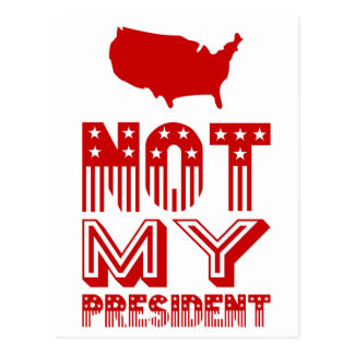Not My President America Red Postcard