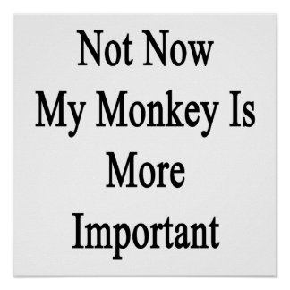 Not Now My Monkey Is More Important Posters