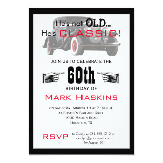 Not Old But Classic Old Car Birthday Invitation