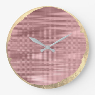 Not Perfect Minimalism Metal Gold Sepia Blush Pink Large Clock
