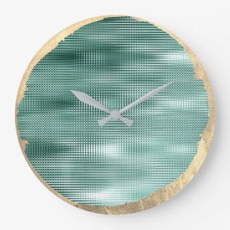 Not Perfect Minimalism Metal Gold Sepia Teal Green Large Clock