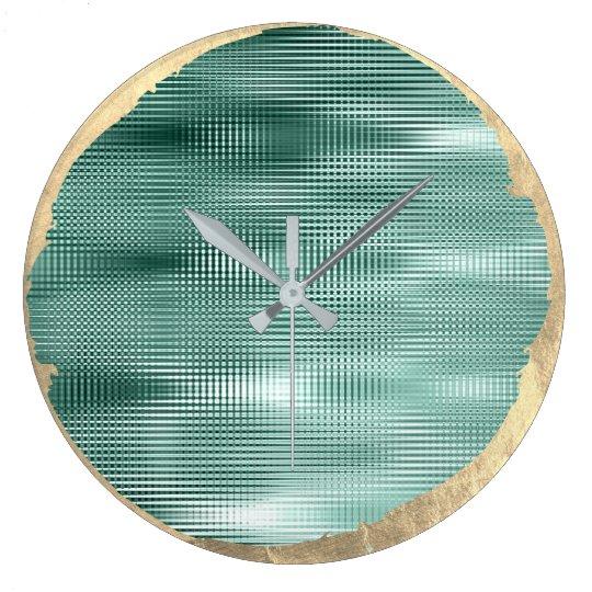 Not Perfect Minimalism Metal Gold Sepia Teal Green Large Clock