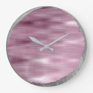 Not Perfect Minimalism Metal Silver Gray Burgundy Large Clock