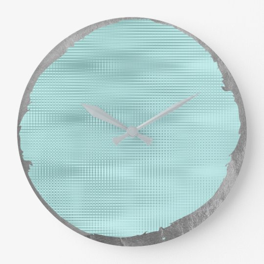 Not Perfect Minimalism Metal Silver Grey Tiffany Large Clock
