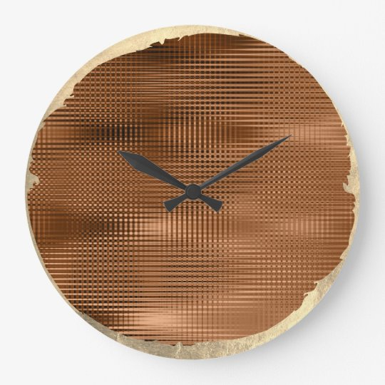Not Perfect Minimalism Metallic Gold Sepia Bronze Large Clock