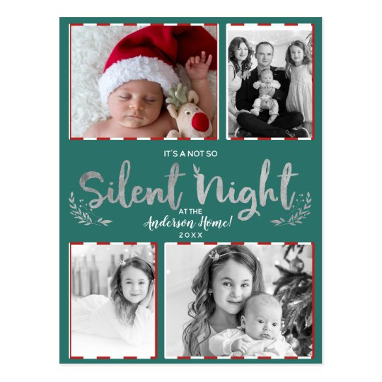 Not So Silent Night Teal Silver 4 Photo Holiday Postcard