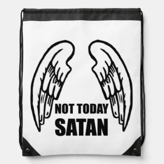 Not Today Satan Drawstring Bag