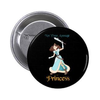 """Not Your Average Princess"" Warrior Girl 2 Inch Round Button"