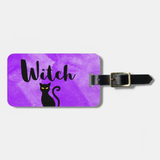 Not Yours Purple Witch Black Cat Magic Luggage Tag