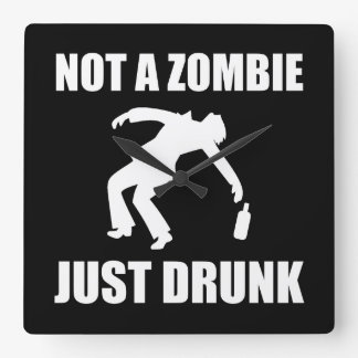 Not Zombie Just Drunk Wallclocks