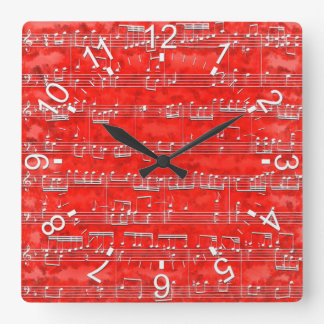 Nota Bene (red) Square Wall Clock