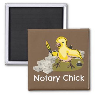 Notary Chick with Feather Quill and Documents Square Magnet
