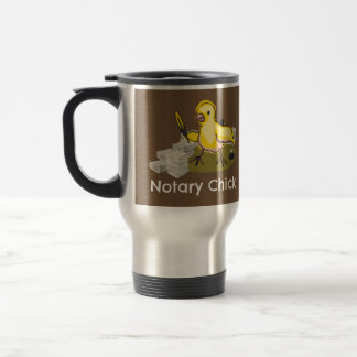 Notary Chick with Feather Quill and Documents Travel Mug