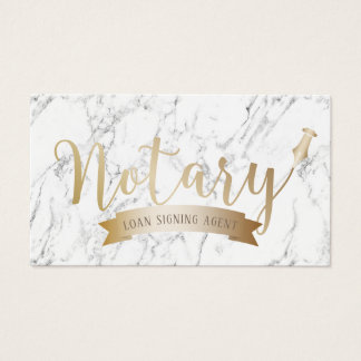 Notary Loan Signing Agent Gold Script White Marble Business Card