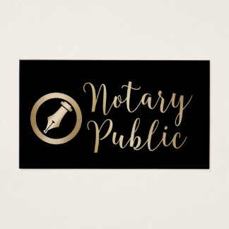 Notary Public Loan Signing Agent Black & Gold Business Card