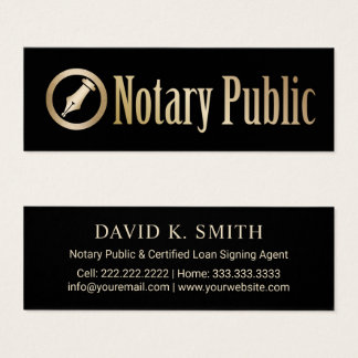Notary Public Loan Signing Agent Gold Pen Logo Mini Business Card
