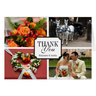 Notched 4 photo montage personal thank you card