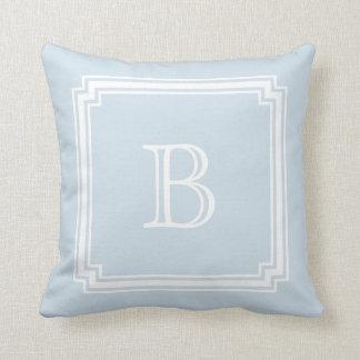 Notched Corner Frame BABY BLUE Background Monogram Throw Pillow
