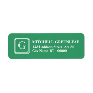 Notched Square Initial Return Address Label, Green
