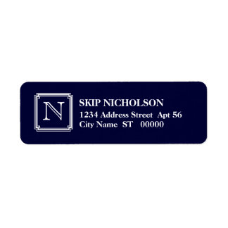 Notched Square Initial Return Address Label, Navy