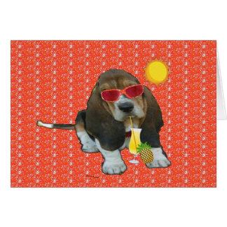 Note Card Baby Basset Hound Sheldon Summer Time