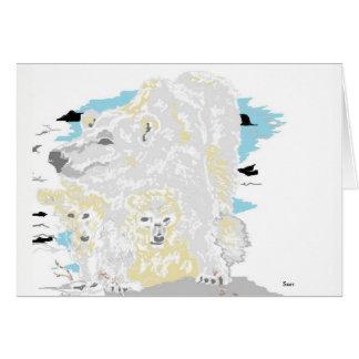Note Card Blank inside Polar Bear with Cubs