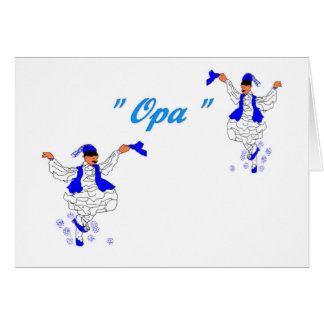 Note Card in Greek/ Opa -Evzones ( Blank inside)