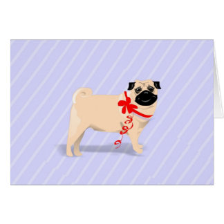 Note Card - Pug Dog with Red Ribbon