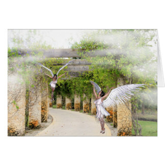 Note Card with Angels under a Stone Arbor