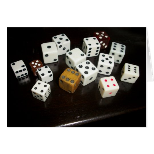 note card with dice