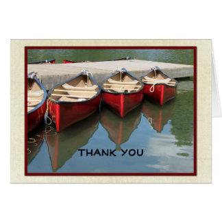 Note de Merci de retraite, trois canoës rouges Carte De Correspondance