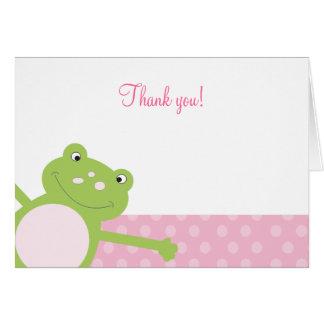 Note de Merci pliée par grenouille verte de saut Carte