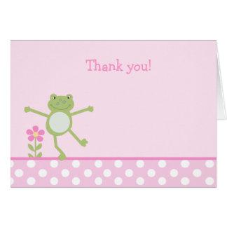 Note de Merci pliée par ROSE de FROGGY de GRENOUIL Carte De Vœux