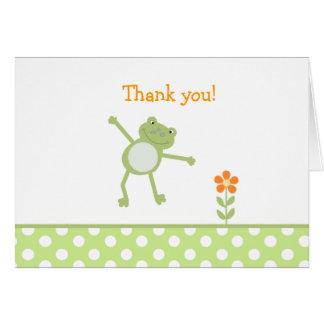 Note de Merci pliée par VERT de FROGGY de GRENOUIL Carte De Vœux