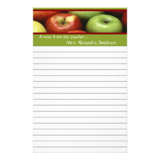 Note From Teacher Personalized Apple Stationery
