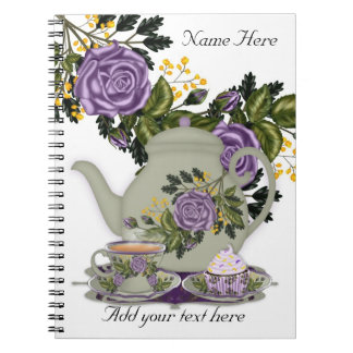 Note Pad With Tea, Cupcakes And Roses Notebook